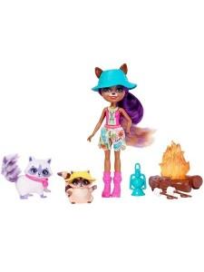 Набор с куклой Enchantimals Рейлин Енот и Пестер на кемпинге FJJ29
