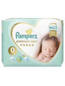 Подгузники Pampers Premium Care 0 Newborn (1,5-2,5 кг), 30 шт