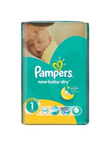 Подгузники Pampers New Baby-Dry 1 (2-5 кг), 43 шт