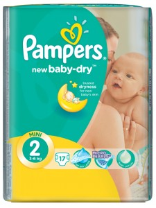 Подгузники Pampers New Baby-Dry 2 Mini (3-6 кг), 17 шт
