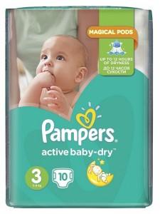Подгузники Pampers Active Baby Midi 3 (5-9 кг), 10 шт
