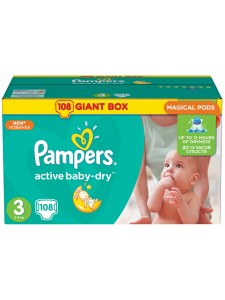 Подгузники Pampers Active Baby Midi 3 (5-9 кг), 108 шт
