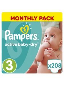 Подгузники Pampers Active Baby Midi 3 (5-9 кг), 208 шт