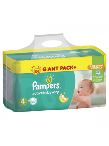 Подгузники Pampers Active Baby Maxi 4 (8-14 кг), 106 шт