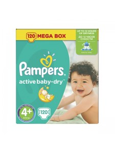 Подгузники Pampers Active Baby-Dry Maxi Plus 4+ (9-16 кг),120 шт