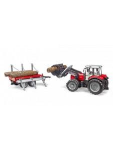 Брудер Трактор Massey с погрузчиком и прицепом Bruder 02046
