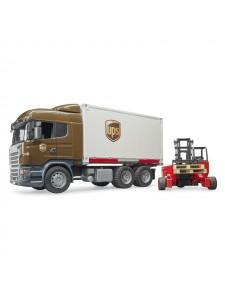 Брудер Фургон Scania UPS с погрузчиком и паллетами Bruder 03581