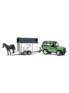 Bruder Внедорожник Land Rover Defender с прицепом-коневозкой и лошадью Брудер 02592