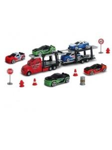 Автотрейлер с легковыми машинами и знаками Dickie Toys 3745001