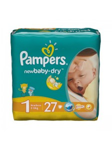 Подгузники Pampers New Baby-Dry 1 (2-5 кг), 27 шт