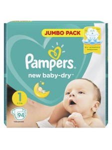 Подгузники Pampers New Baby Dry Newborn 1 (2-5 кг), 94 шт