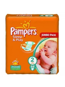 Подгузники Pampers Sleep&Play 2 Mini (3-6 кг), 88 шт