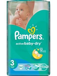 Подгузники Pampers Active Baby Midi 3 (5-9 кг), 62 шт