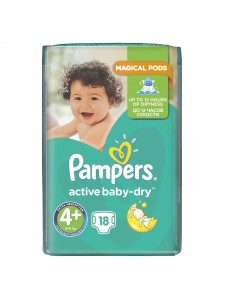 Подгузники Pampers Active Baby Maxi Plus 4+ (9-16 кг),18 шт