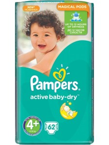 Подгузники Pampers Active Baby Maxi Plus 4+ (9-16 кг),62 шт