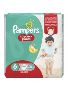 Подгузники-трусики Pampers Pants 6 (15+ кг), 25 шт